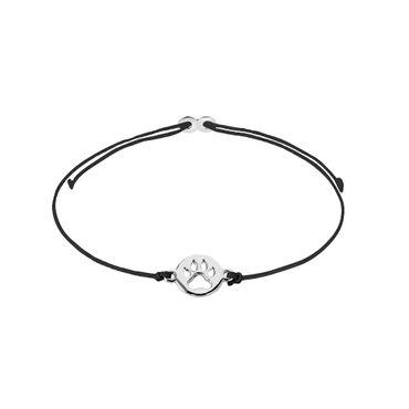 XENOX Mädchen-Armband Tatze 925 Silber Nylon XS1678