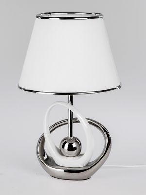 Moderne Lampe Keramikfuß silber-weiß; 40cm