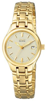 Citizen Damen-Armbanduhr Analog Eco-Drive vergoldet EW1262-55P