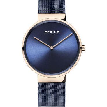 BERING Herren-Armbanduhr Analog Quarz blau rosé 14539-367