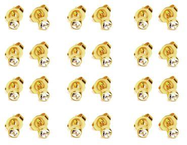 12 Paar Medizinische Erstohrstecker Gesundheitsstecker vergoldet mit Steinchen (Classic)