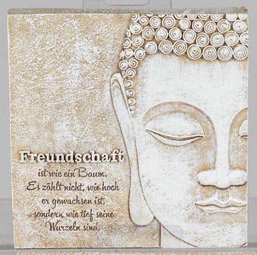 Poesie-Stein mit Spruch - Freundschaft ist wie ein Baum..., 15 x 15cm