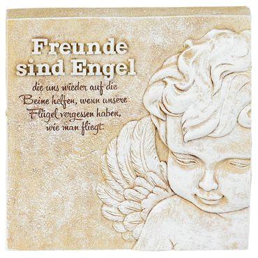 Poesie-Stein mit Spruch - Freunde sind wie Engel die uns wieder..., 15 x 15cm