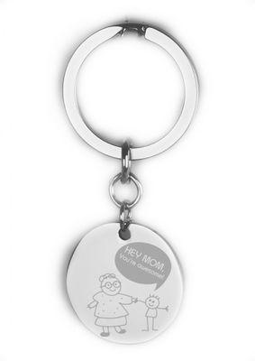 Schlüsselanhänger Muttertag rund 30mm mit Foto-Gravur