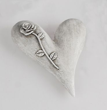 Deko-Herz aus Kunststein glatt; ca. 13cm