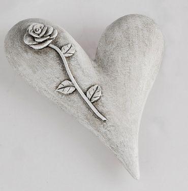 Deko-Herz aus Kunststein glatt; ca. 15cm