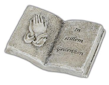 Grabdekoration Buch mit Trauerspruch Im stillen Gedenken;ca. 9x7cm