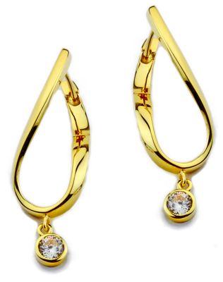 Damen Ohrringe Scharnier Creolen aus 925 Sterling Silber vergoldet mit Zirkonia 418736
