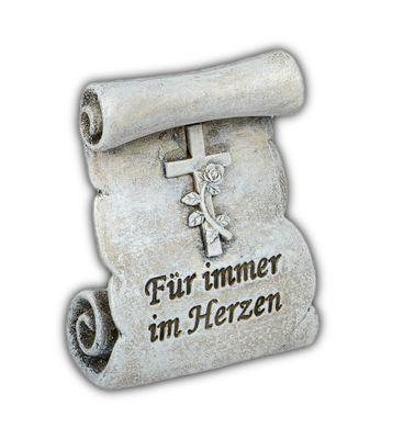 """Grabdekoration Mini-Rolle stehend mit Spruch """"Für immer im Herzen"""";ca. 6cm"""