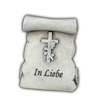 """Grabdekoration Mini-Rolle stehend mit Spruch """"In Liebe"""";ca. 6cm"""
