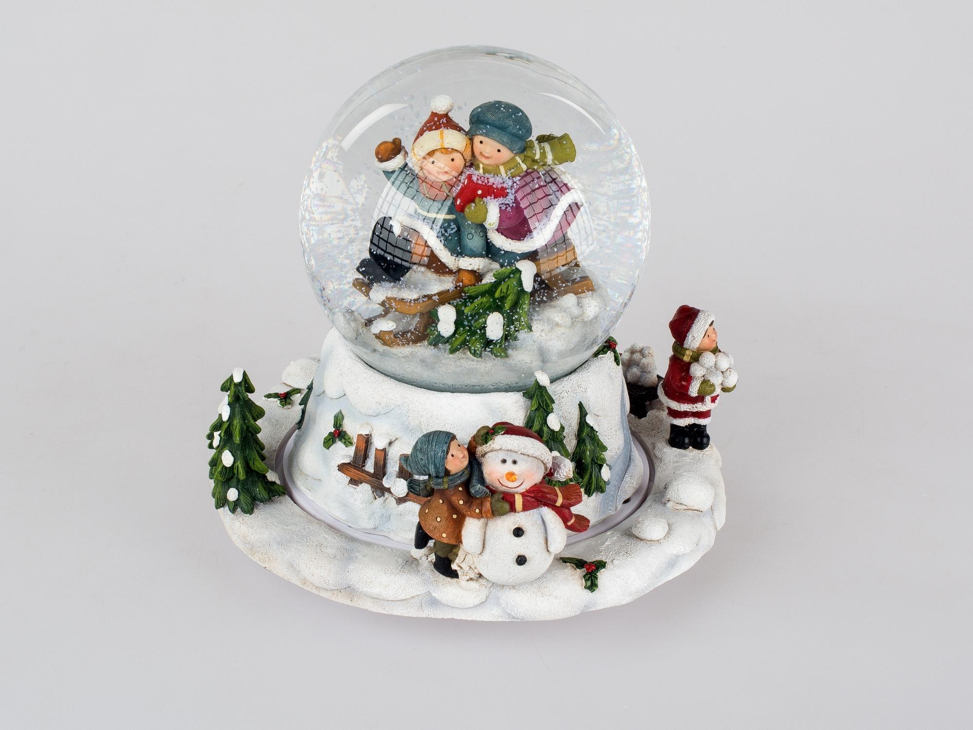 Formano Schneekugel als Spieluhr; ca.15cm Saison Winter und Weihnachten