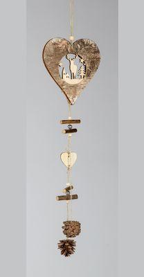 Formano Herz Hänger aus Holz; ca. 15x52cm