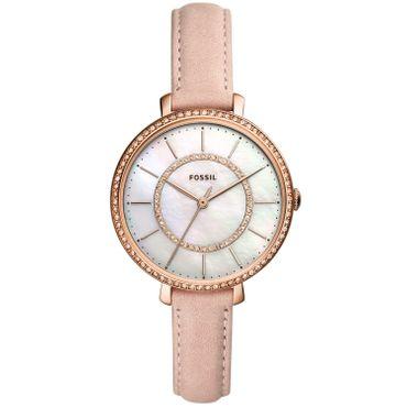 Fossil Damen-Armbanduhr Jocelyn Analog Quarz mit Lederarmband rosa ES4455