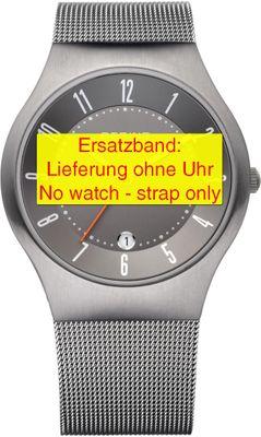 Bering original Ersatzband Edelstahl-Mesh Milanaise grau für 11937-377