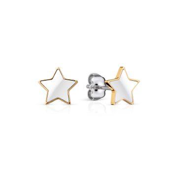 BERING Damen-Ohrstecker Stern aus Edelstahl vergoldet mit Keramik weiß 706-25-05