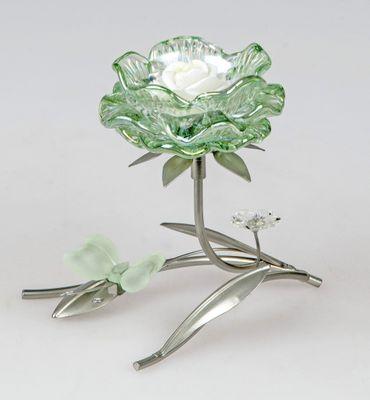 Leuchter Seerose 1 flammig, silbernes Metall mit grüner Blüte; ca.18 cm