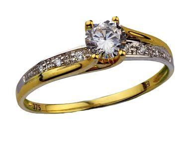 Damen-Ring Verlobungsring Antragsring aus 375 Gold mit Zirkonia Bicolor 6-200503-001