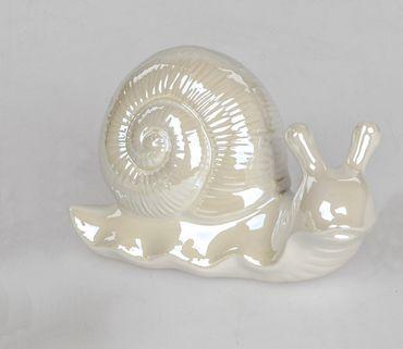 Formano Deko-Schnecke aus glasiertem Steingut in weiß; ca. 14cm