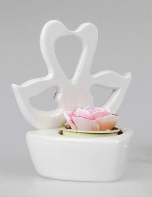 """Formano Teelichtleuchter """"Schwan"""" weiß aus Porzellan; ca.8x11cm"""