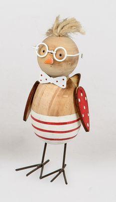 Formano Osterdeko; witzige Deko-Figur Vogel mit Brille;rot-weiß; ca. 18cm