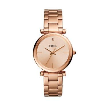 Fossil Damen-Armbanduhr Carlie Analog Quarz mit Edelstahl-Armband ES4441