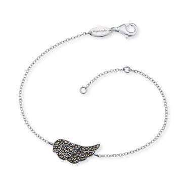 Engelsrufer Armband Flügel mit 28 Markasit 925 Silber oxidiert / 17,5 mm 17+2cm