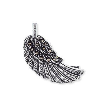 Engelsrufer Flügel mit 12 Markasit 925 Silber oxidiert M 29 mm