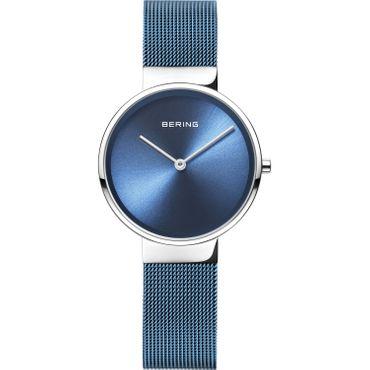 BERING Damen-Armbanduhr Analog Quarz Edelstahl blau 14531-308