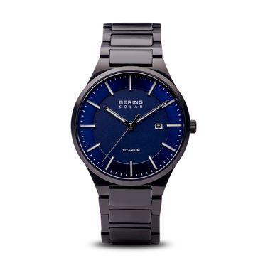 BERING Herren-Armbanduhr Analog Solar Titan schwarz 15239-727
