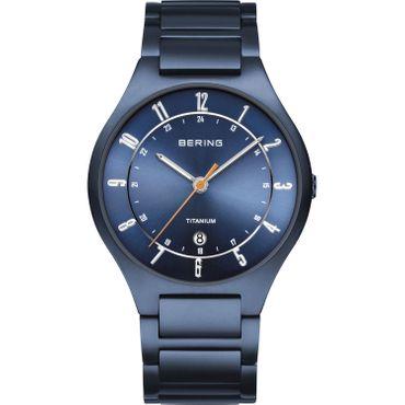 BERING Herren-Armbanduhr Analog Quarz Titan blau 11739-797