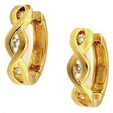 Damen Ohrringe Scharnier Creolen echt Silber vergoldet mit Zirkonia