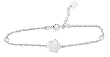 Damen-Armband 925 Sterlingsilber rhodiniert Blume Anhänger inkl. Gravur 19+3 cm