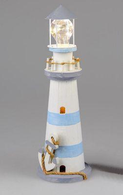 Formano Leuchtturm mit LED-Licht, Anker; ca. 14x43cm
