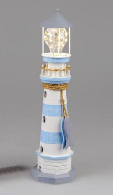 Formano Leuchtturm mit LED-Licht, Fische; ca. 14x43cm