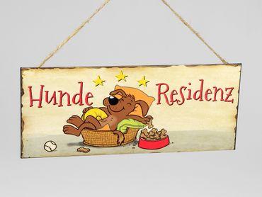 "Dekoschild Blechschild ""Hunde-Residenz"" Vintage Look; ca. 30x13cm"