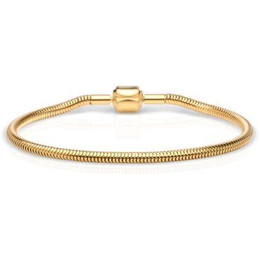 BERING Damen-Armband Schlange vergoldet für Charms Edelstahl 615-20-X