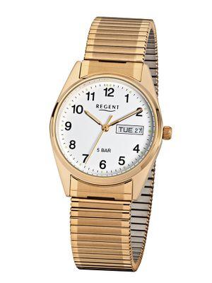 Regent Armbanduhr Analog Quarz mit Edelstahl-Zugband F-293