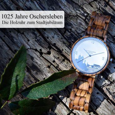 Städte-Uhr 1025 Jahre Oschersleben Edition aus Zebrano-Holz