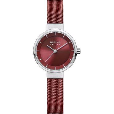 BERING Damen-Armbanduhr Analog Solar rot 14627-303