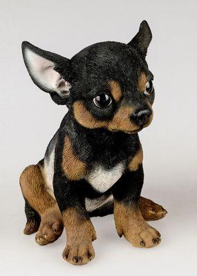 Formano Deko-Figur Hundewelpe Chihuahua Kunststein, schwarz-braun; ca. 18cm