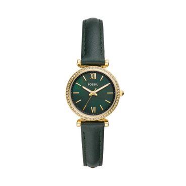 Fossil Damen-Armbanduhr Carlie Mini analog Quarz mit Leder-Armband ES4651