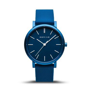 Bering True Aurora Armbanduhr 34mm analog quarz mit Silikonband blau matt 16934-799