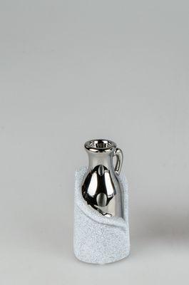 "Formano Deko-Vase ""Stone - silber"", aus Keramik, ca. 6x14cm"