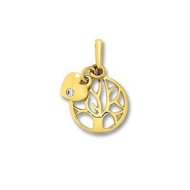 Anhänger Lebensbaum Herz Zirkonia weiß Gold 333