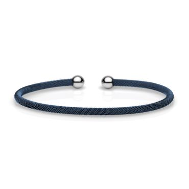 Bering Armspange für Charms Edelstahl Mesh blau Stahl 626-710-X