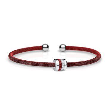 Bering Armspange Mesh rot Stahl und Charm Starter-Set BangleSet-23