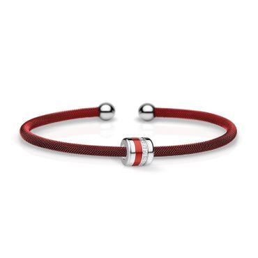 Bering Armspange Mesh rot Stahl und Charm Starter-Set BangleSet-24