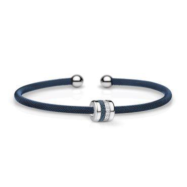 Bering Armspange Mesh blau Stahl und Charm Starter-Set BangleSet-32