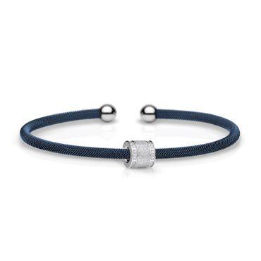 Bering Armspange Mesh blau Stahl und Charm Starter-Set BangleSet-35