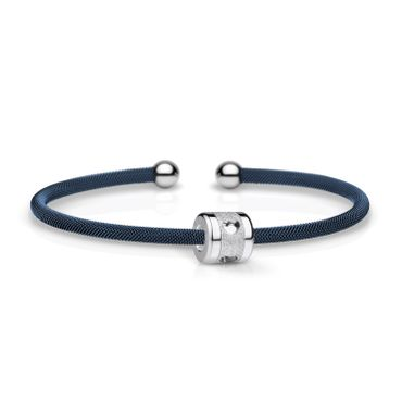 Bering Armspange Mesh blau Stahl und Charm Starter-Set BangleSet-36